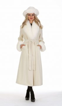 real cashmere coat-long white cashmere coat