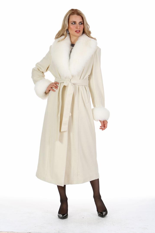 Winter White Cashmere Coat – White Fox Collar and Cuffs | Madison ...