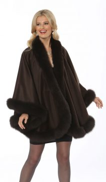 dark-brown-cashmere-100%-cape-genuine fox fur trim cape