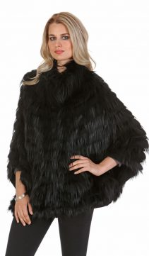 black fox fur sweater jacket-plus size-batwing sleeve