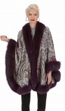 cashmere cape with fox trim-cape with fur trim