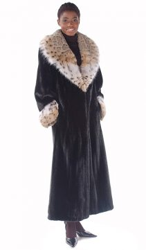 lynx fur coat for women-full length-collar and cuffs-the superior