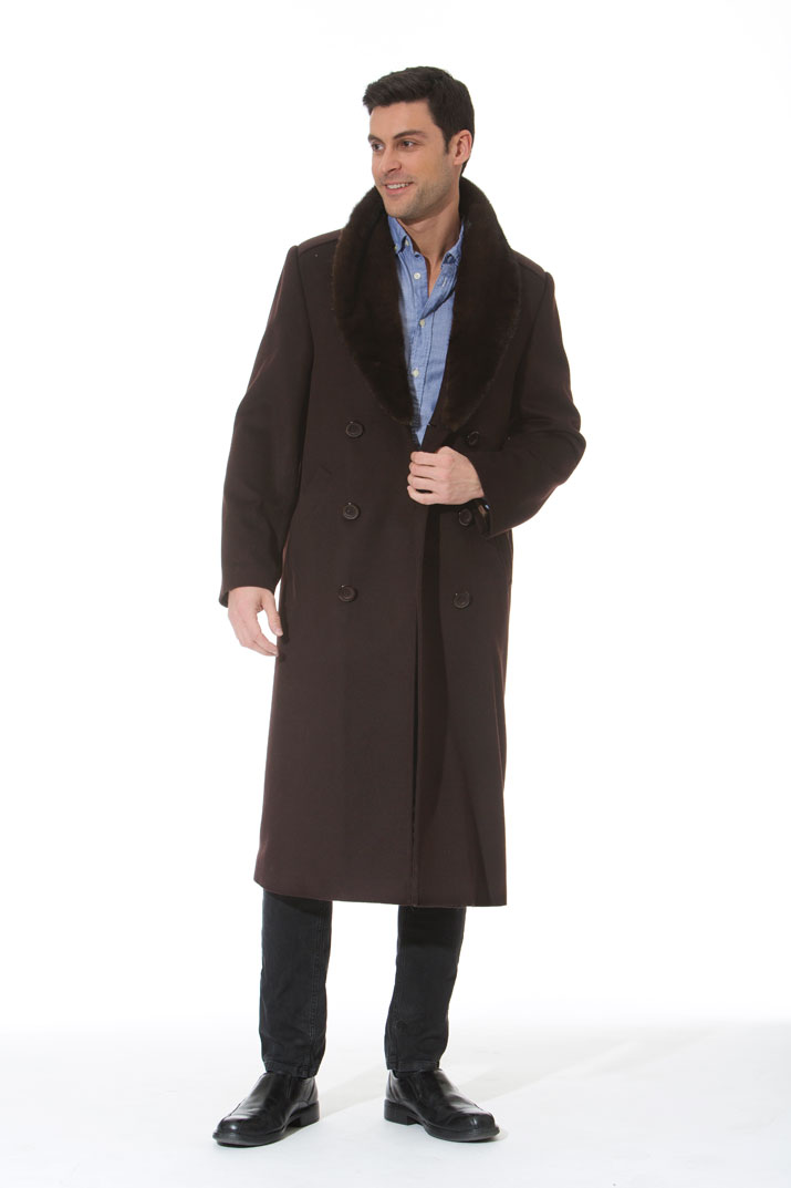 Men's Cashmere Coat – Mink Collar – Dark Brown – The Baron ...