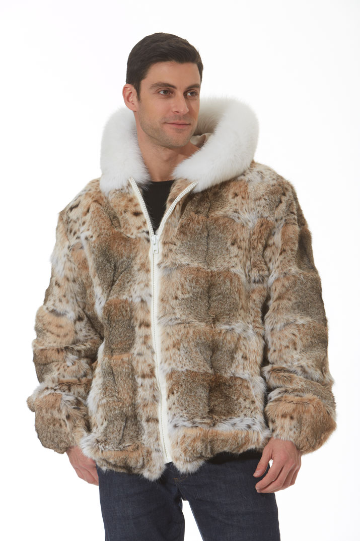 20492a6fd1 Men's Lynx Jacket – Hooded – White Fox Trim – Cat Lynx | Madison ...