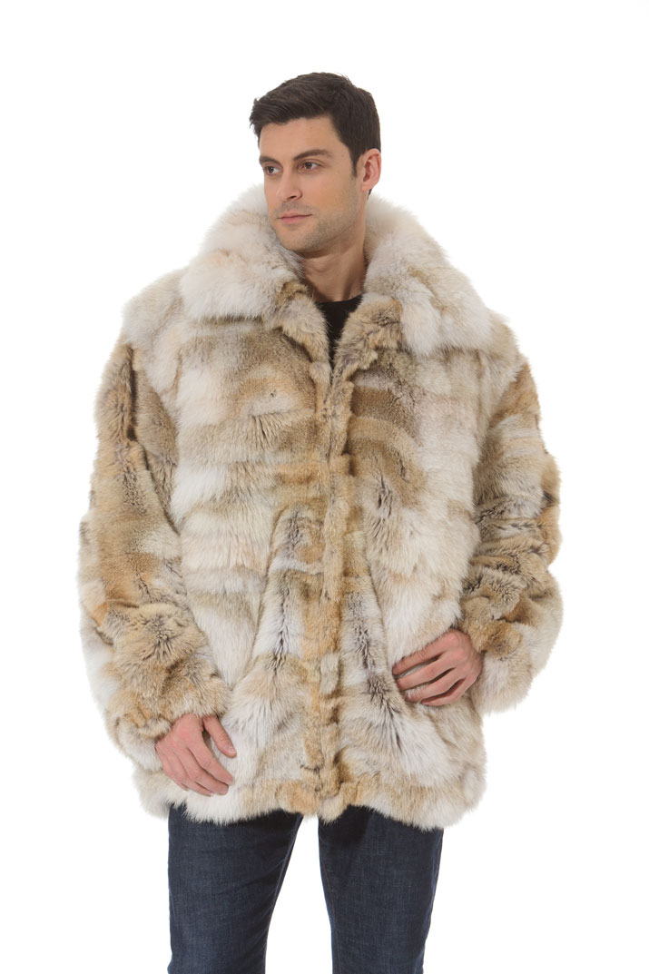 De S About Mens Coyote Fur Coat Jacket Sectioned Zippered