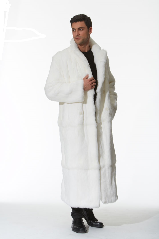 Men's White Fur Coat – Natural White Rabbit -Double Breasted ...
