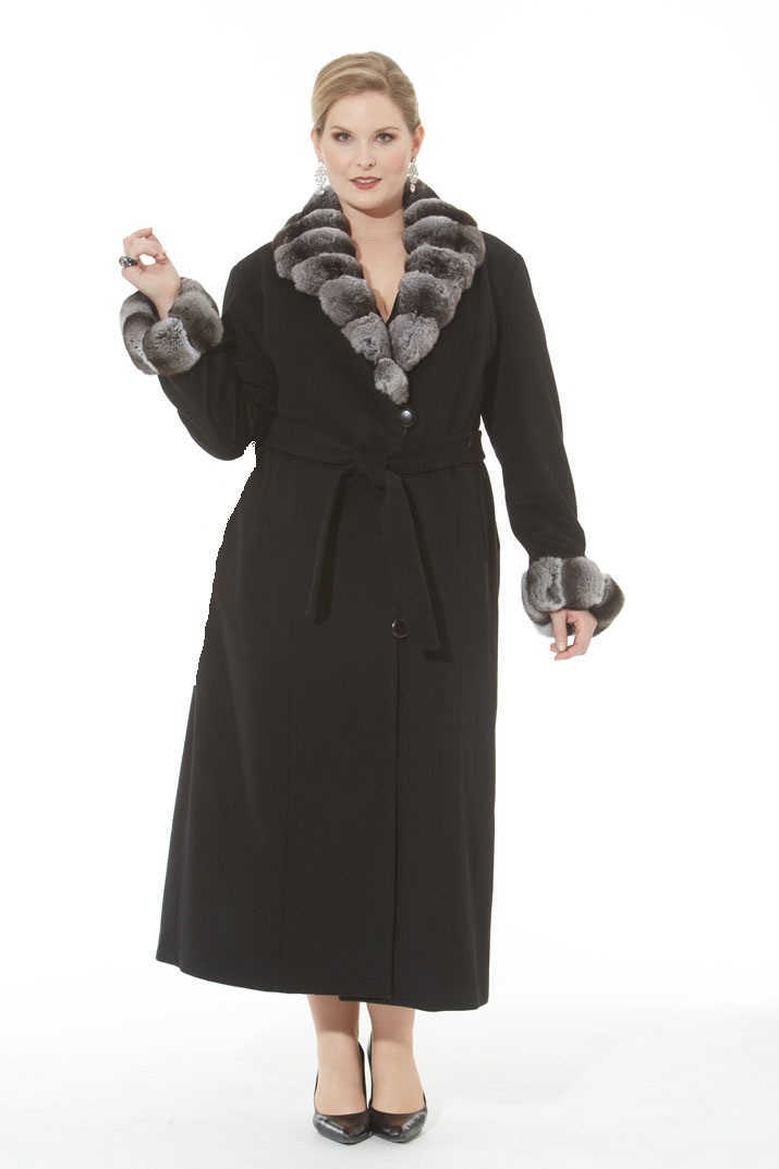Black Cashmere Coat- Chinchilla Trim- Plus Size | Madison Avenue ...