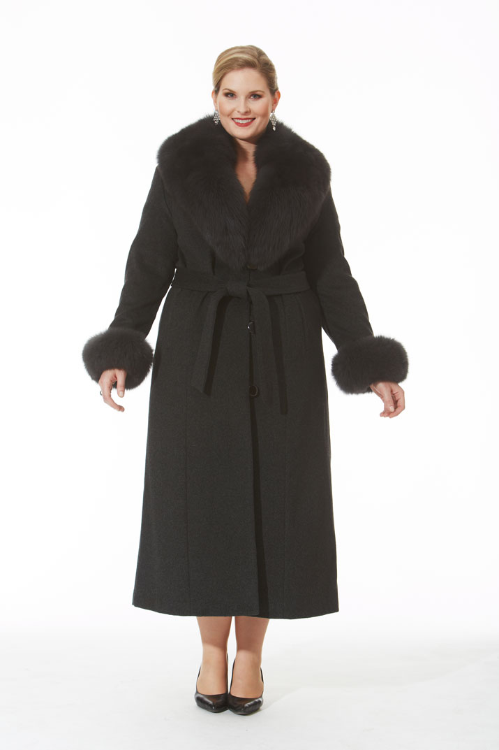 Charcoal Grey Cashmere Coat- Grey Fox Trim- Plus Size | Madison ...