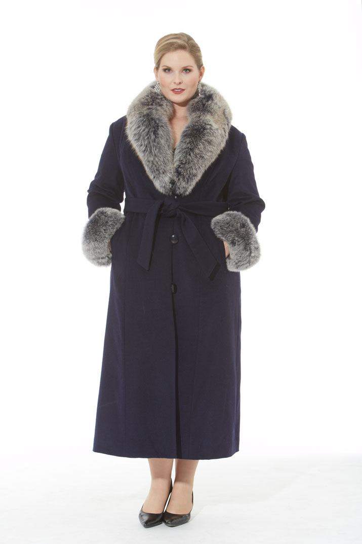 Navy Blue Cashmere Coat – Navy Frost Fox Trim- Plus Size | Madison ...