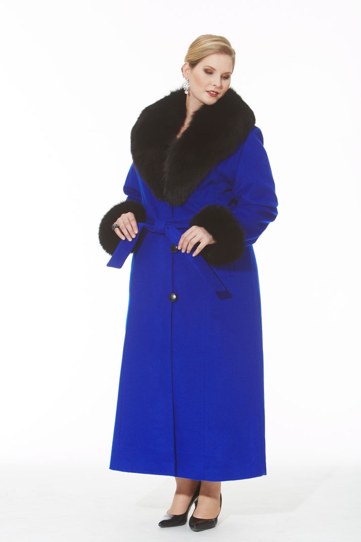 Royal Blue Cashmere Coat- Black Fox Trim- Plus Size | Madison ...