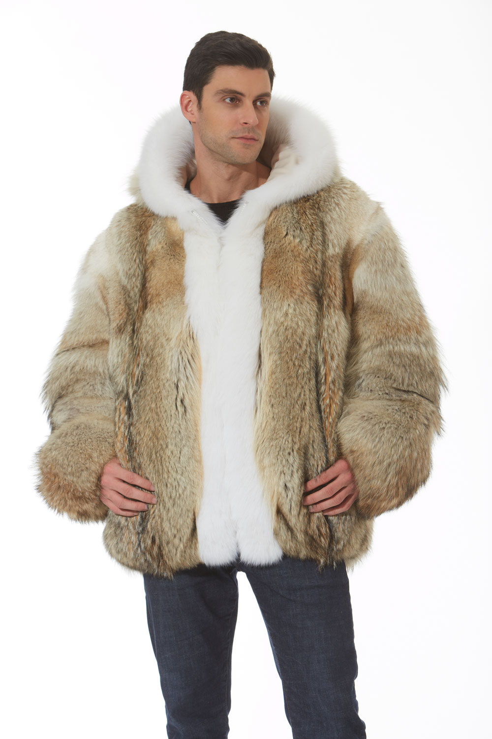 Details about Men's Hooded Coyote Fur Jacket Coat Parka White Fox Trim