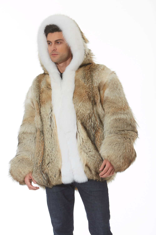 Men S Coyote Hooded Parka White Fox Trim Madison