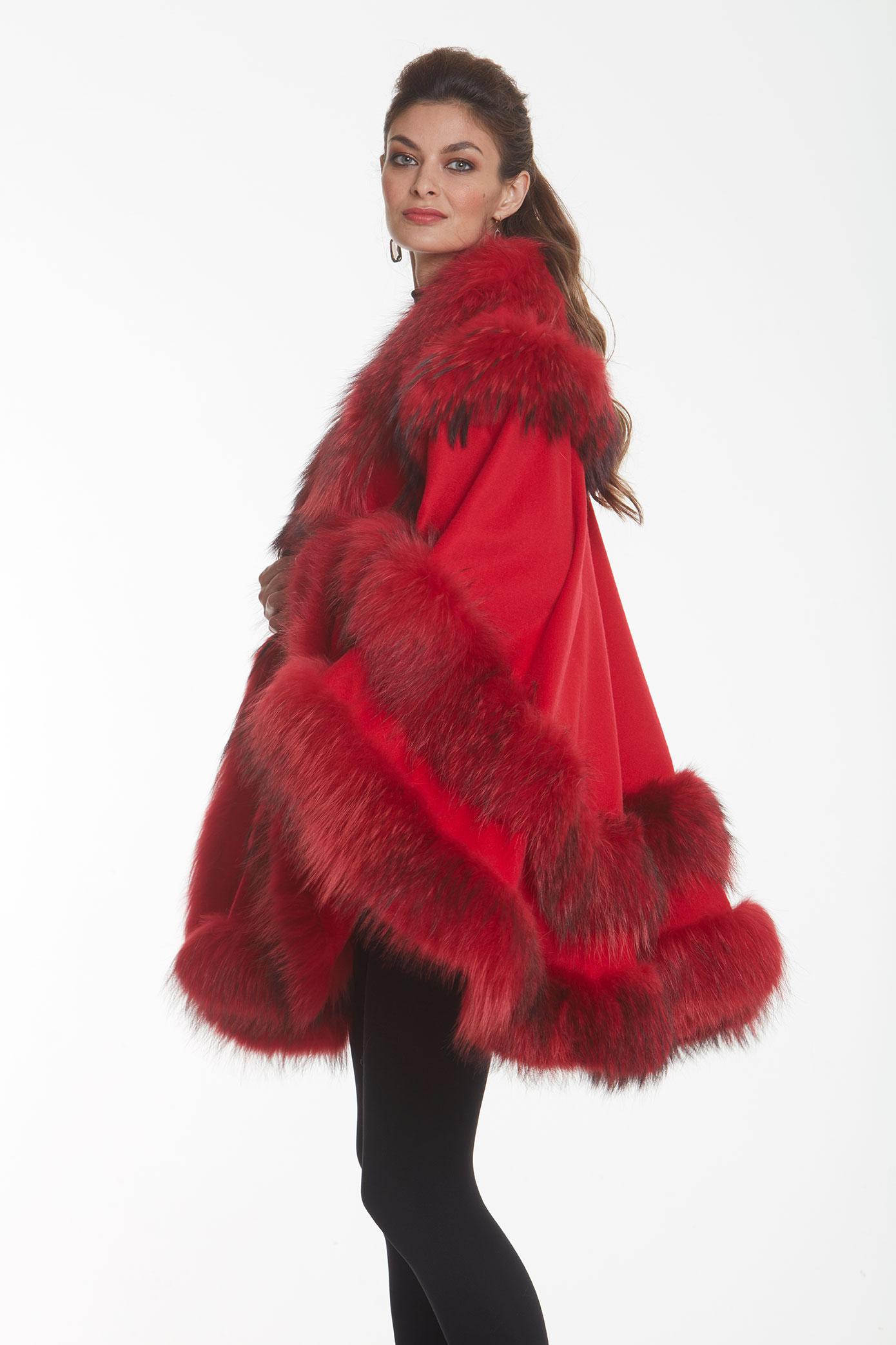 red cashmere cape