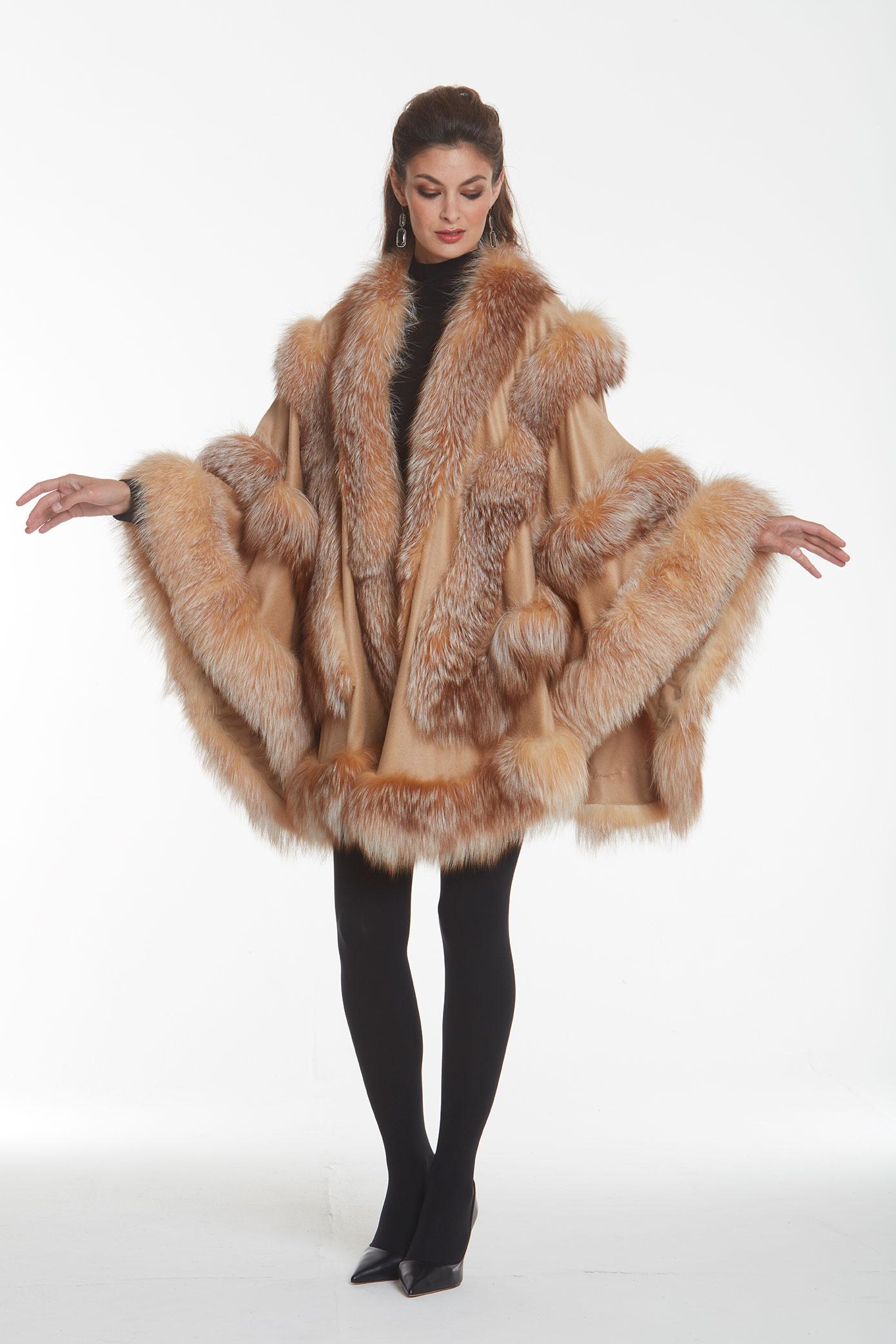 cashmere-fur trimmed-cape