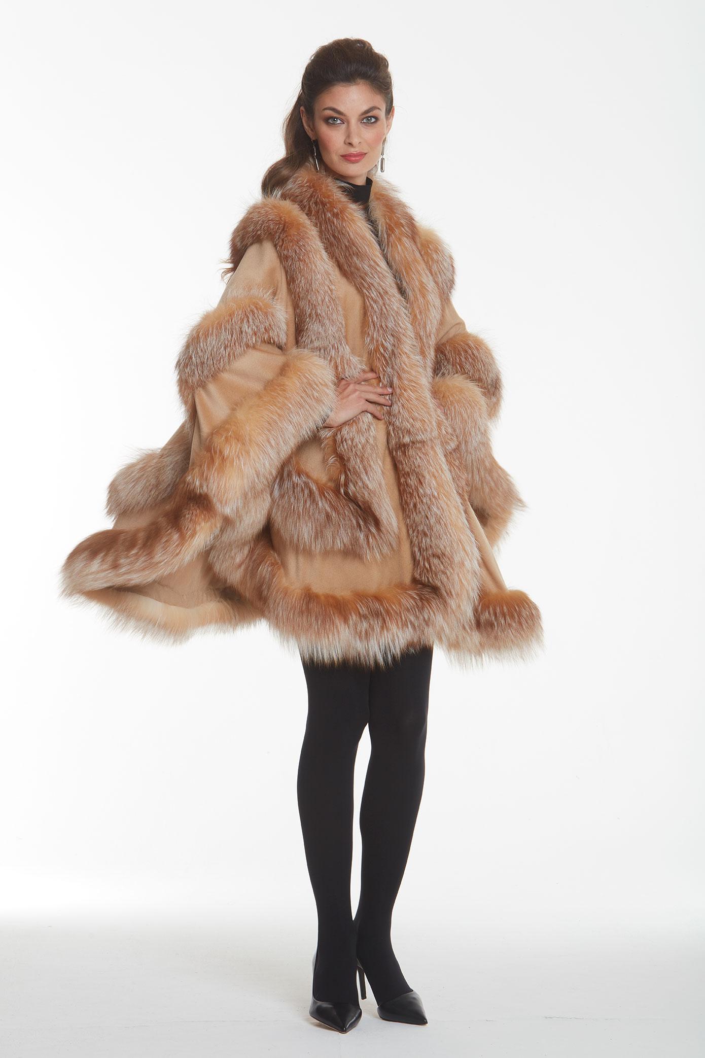 camel-cashmere-fur-trim-cape