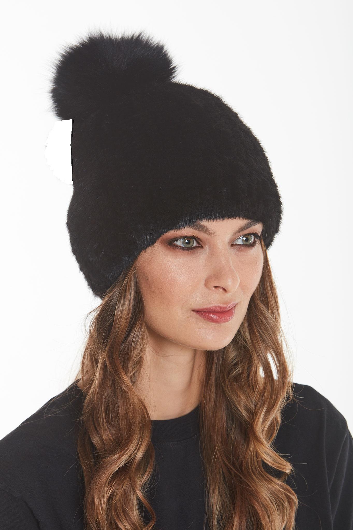 mink-black-hat-pom-pom