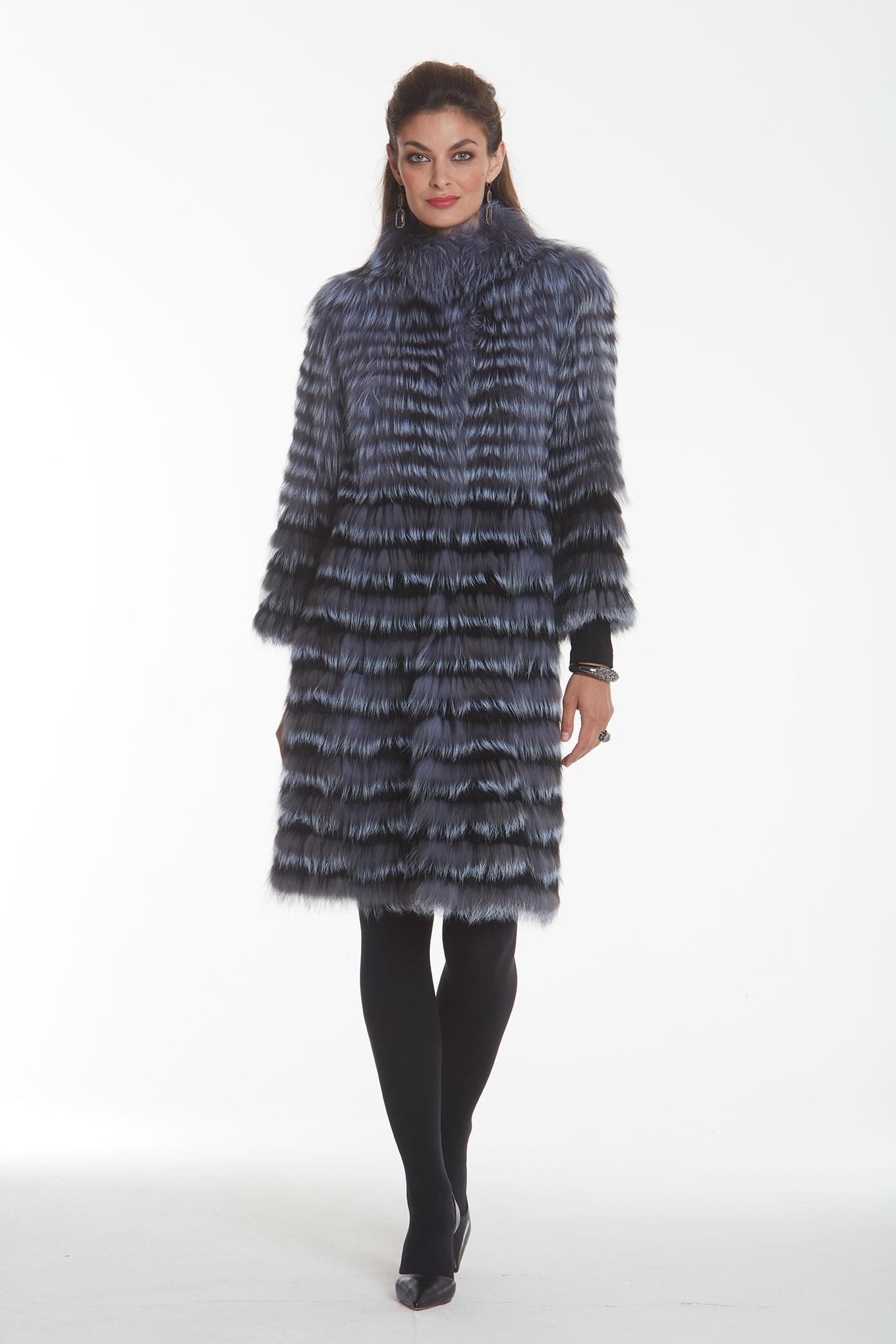 silver fox and black fox fur knee-length coat for ladies